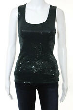 Giorgio Armani Dark Green Scoop Neck Sequined Tank Top Size 6 New With Tags