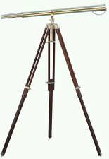 "Marine Navy Nautical Brass Telescope With Wooden Tripod Stand Full Size 39""s"