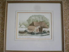 Michael Chaplin R.E. Signed Limited Edition Print. Barn at Headcorn,Maidstone