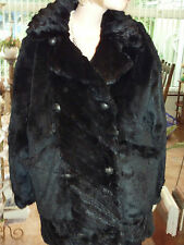 "Ladies black silky soft rabbit fur coat bust 46"" size 18 length 30"" vgc"