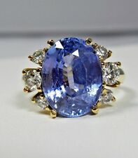 10.80 ct Certified Natural Untreated Fine Violet Blue Sapphire Diamond Ring 18K