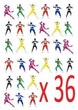 36 Power Rangers STAND UP cupcake Cake Toppers Edible Paper Decorations
