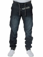New KRUZE Mens Designer Casual Jogger Cuffed Denim Jeans All Waist Sizes