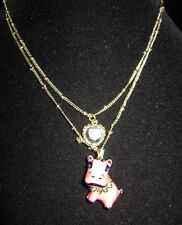 BETSEY JOHNSON SAFARI PINK HIPPO DOUBLE CHAIN NECKLACE