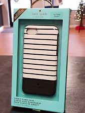 KATE SPADE iPhone 7 - CREDIT CARD CASE Sunrise Stripe Black White NEW AUTHENTIC