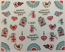 Valentines 3D Nail Art Stickers Decals Bows Lips Hearts Birds SILVER (TJ97S)