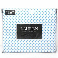 RALPH LAUREN Blue Polka Dot QUEEN SHEET SET NWT COTTON White