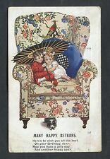 Illustrated Birthday Card - Two Children on a Chair. Stamp/Postmark - 1927