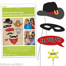 10 Wild West Cowboy Western Party Howdy Sheriff Hand Held Photo Booth Props