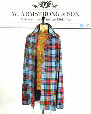 Vtg bleu tartan rouge carreaux bouton scottish poncho laine 70s boho long cape os