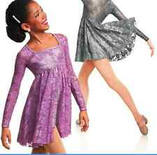 Night Sky Lilac Metallic Lace Dance Skate Lyrical Curtain Call Dance Dress CXL