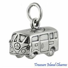 VOLKSWAGEN VW BUS HIPPIE VAN WITH PEACE SIGN 3D .925 Sterling Silver Charm