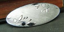 Vintage Anson Sterling Silver Textured Oval Pin w Etched Leaf Design
