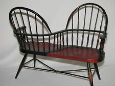 Vintage Bent Wood Double Doll Chair Front and Back Seat