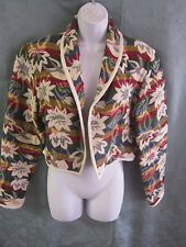 Shaver Lake Jacket Size Medium Cropped Rainbow Floral Tapestry Cotton Open Front