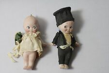 Kewpie Bisque Bride FABRIC OUTFIT Groom PAPER Looking At Each Other 4 INCHES VTG