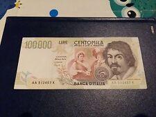 BANCONOTA 100000 Lire 2°tipo AA. Caravaggio cond.qFDS.1994 banknote papermoney