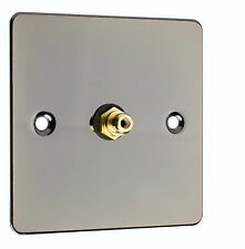RCA / Phono Audio Wall Face Plate - Black Nickel + Screws,  Solder,  Heatshrink