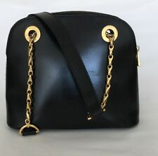 CELINE Black Leather Gold Tone Chain Leather Shoulder Strap Zip Top Handbag