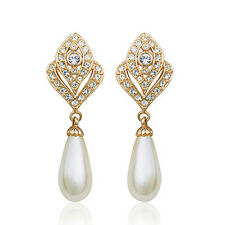 18K GOLD PLATED GENUINE SWAROVSKI CRYSTAL DANGLE PEARL CLIP-ON  EARRINGS