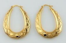 New 9ct Yellow Gold Large Oval Creole Hoop Earrings