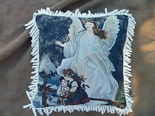 "Guardian Angel Watching Children on Bridge Tapestry w Fringe 16"" Accent Pillow"
