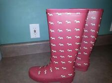 WOMEN'S J CREW RED SCOTTISH DOG RUBBER RAIN BOOTS  SIZE 8