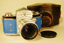 Ihagee EXAKTA VX 35mm German camera. Tessar lens, Custom blue lizard skin, case