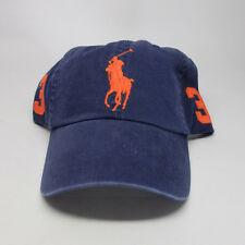 Polo Ralph Lauren Cotton Sport Hat Classic Navy Blue Orange Big Pony 3 Dad cap