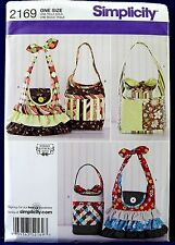 Simplicity Ruffle Handbag Sewing Pattern Purse Pocketbook Tote Bag Pockets 2169