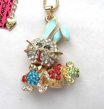 Betsey Johnson Colorful crystal/enamel Rabbit radish pendant Necklace#383L L