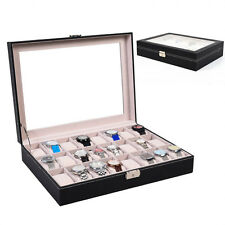 24 Slot Leather Watch Box Display Case Organizer Glass Top Jewelry Storage