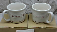 Longaberger Set of 2 Woven Traditions Traditional Red Pottery Souper Mugs - NEW