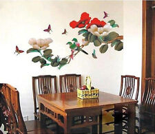 Beautiful JAPANESE FLOER Vine BIRDS Butterfly WALL DECOR MURAL STICKER DECAL