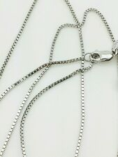 """14k Solid White Gold Box Link Necklace Pendant Chain 30"""" .8mm"""