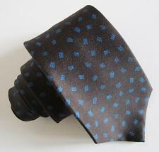 BULGARI Tie 7385736 100% Silk Charcoal Tie w Blue Print NWT Signed by Artist