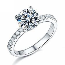 925 Sterling Silver Created Diamond Ring Wedding Solitaire with Accents