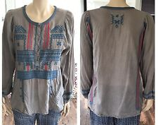 Biya Johnny Was JWLA Grey Aztec Embroidered Top Blouse Size Small