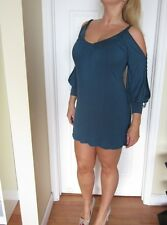 MACY'S S-TWELVE Cold Shoulder Long Sleeve Mini Dress in Teal Size MEDIUM