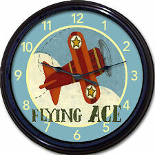 "Airplane ""Flying Ace"" Wall Clock Child Boy Bedroom Nursery Airplanes aviation"