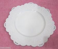 White Eyelet Scalloped Edge Charger Plates Set of 4 Shabby Chic Cottage