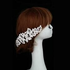 NEW - Flowers w/ rhinestone crystals long metal hair comb - Wedding / Bridal