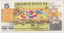Banknote $5 World Expo 88 Australia funny money stamps at back & postmarks