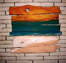 Reclaimed Barn Wood Driftwood Beach Art Ocean Sunset Scene Modern Abstract Eco