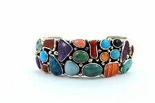 Native American Navajo Indian Jewelry Sterling Silver Multi Color Bracelet