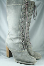 Womens Frye Villager Boots Knee High Distressed Oiled Leather Lace-Up Size 7M