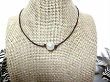 White Pearl Brown Genuine Leather Cord Choker Necklace Pearl Choker Slip Knot
