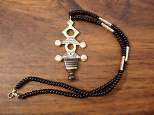Ebony Niger Tuareg hand engraved pendant necklace with black agate beads