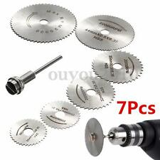 7PCS HSS Circular Wood Cutting Saw Blade Discs Mandrel 22mm-50mm For Rotary Tool