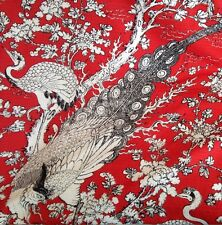 5m Linen Leave Retro Exotic Bird Of Paradise And Peacock Designer Curtain Fabric
